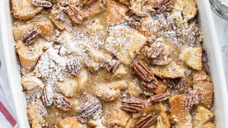 Maple pecan french toast casserole.