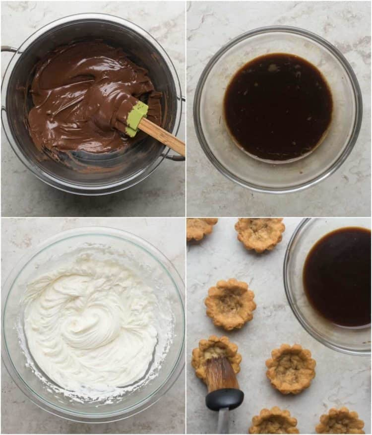How to prepare the chocolate, coffee, and sweet cream for these tiramisu tartlets. How to brush the tartlets with strong coffee.