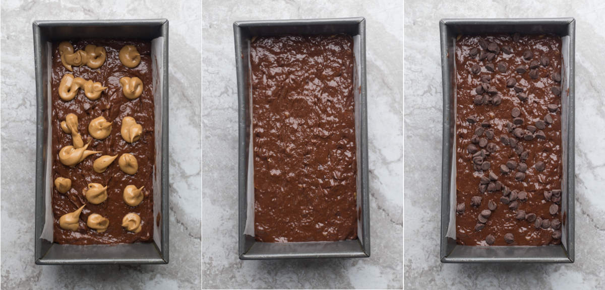 How to put chocolate banana bread into the bread pan.