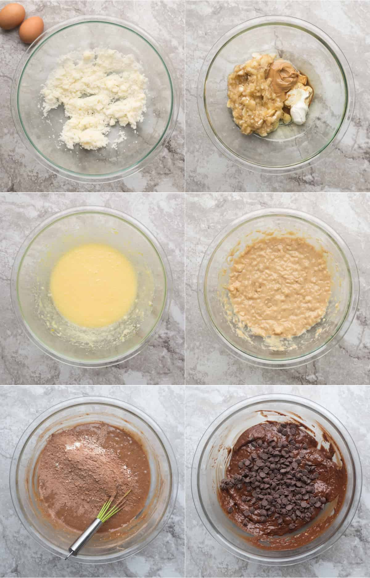 How to make chocolate chip banana bread recipe batter.