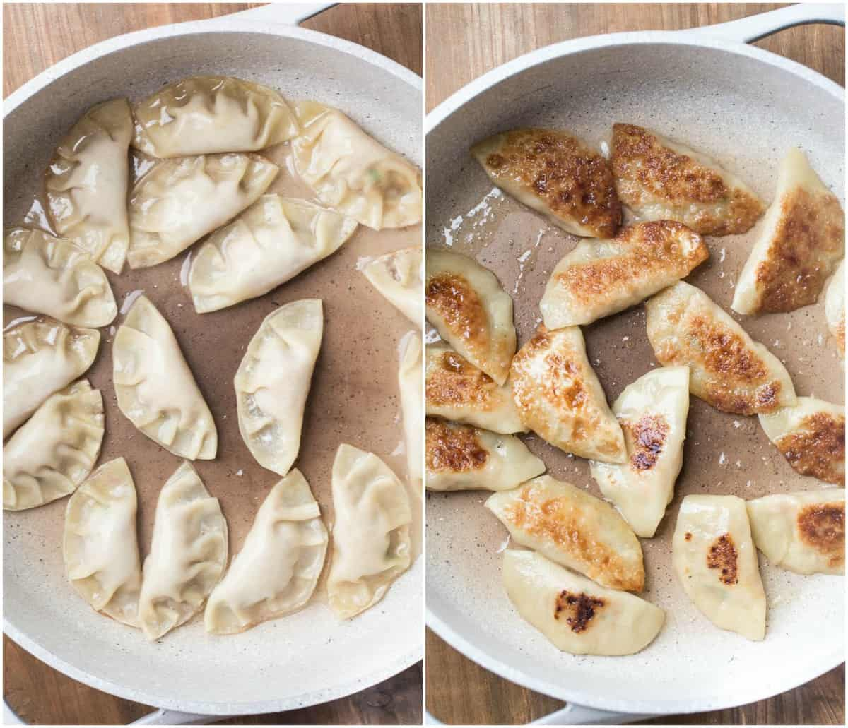 How to cook a chicken gyoza recipe in a skillet.