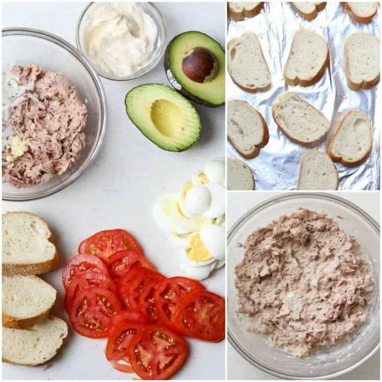 Step by step picture of how to make avocado egg tuna sandwich recipe.