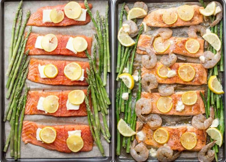 Simple one pan salmon recipe with shrimp and asparagus topped with butter and lemon. A simple and great healthy salmon recipe, keto diet friendly.