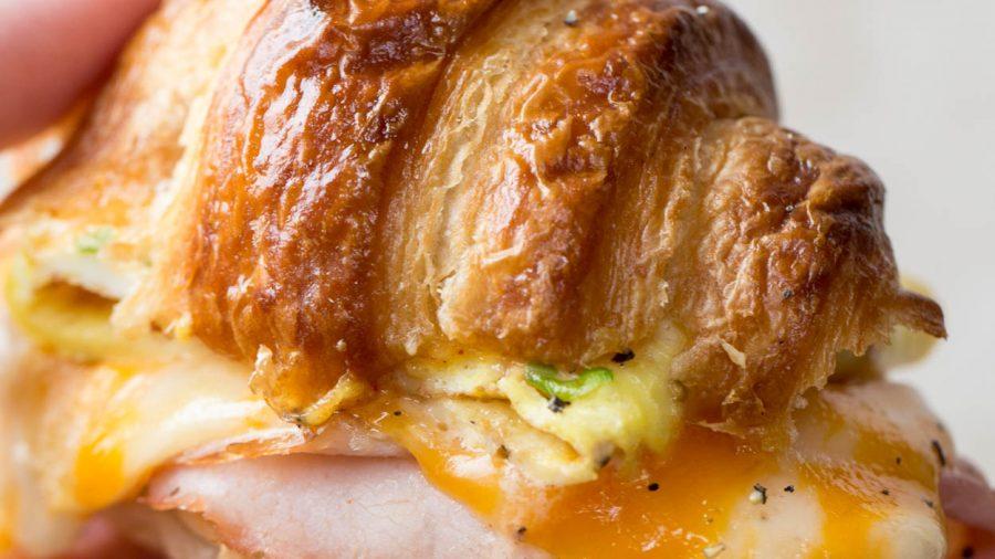 Ham and Cheese Croissant Breakfast Sandwich