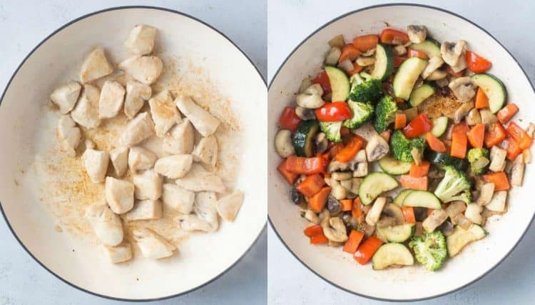 How to make stir fry with chicken, zucchini. broccoli, peppers and mushrooms.