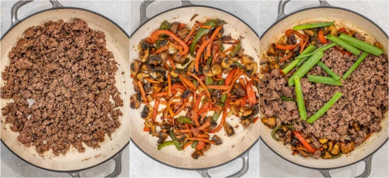 Step by step collage of how to make homemade ground beef stir fry.