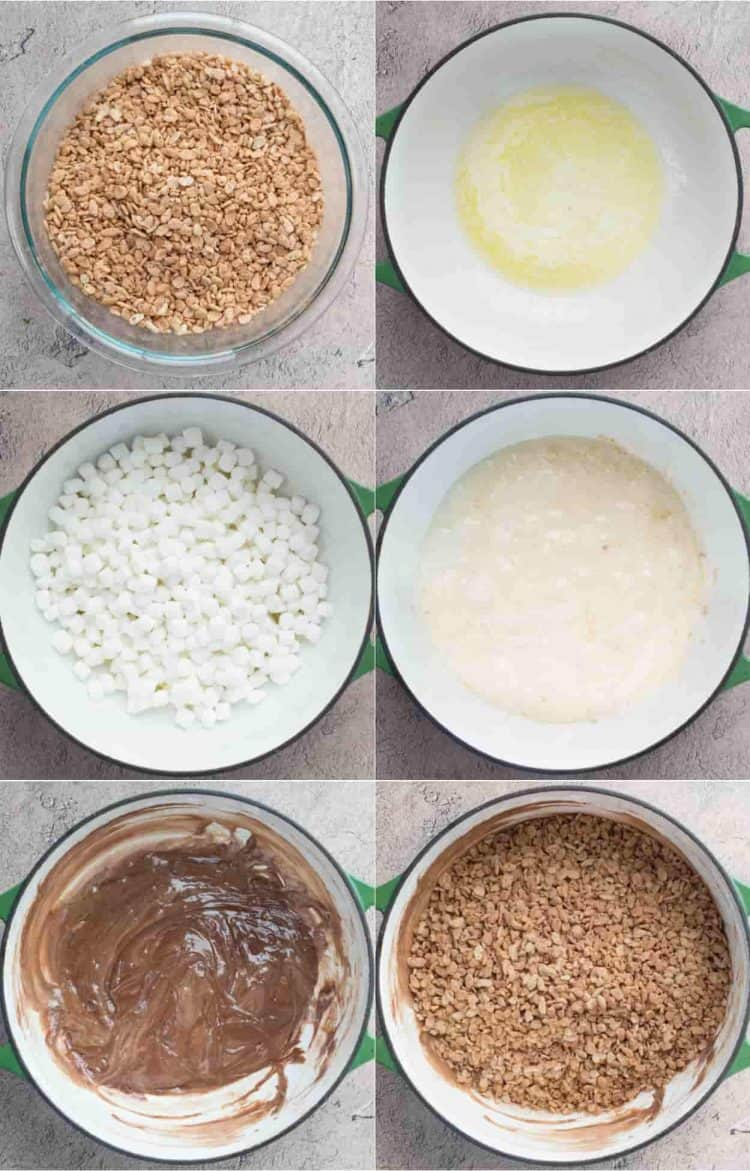 Step-by-step tutorial how to make rice krispie treats with Nutella chocolate.
