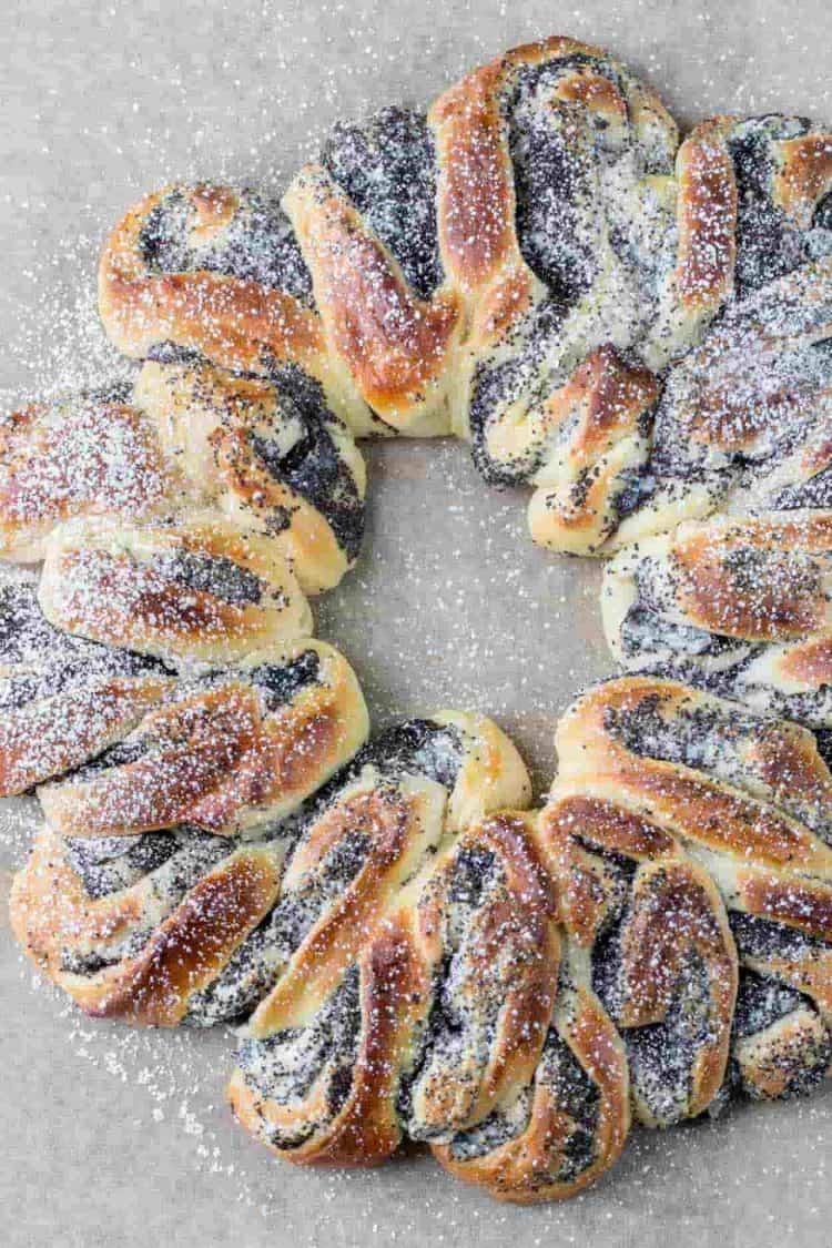 Poppy seed babka recipe sprinkled with powdered sugar.
