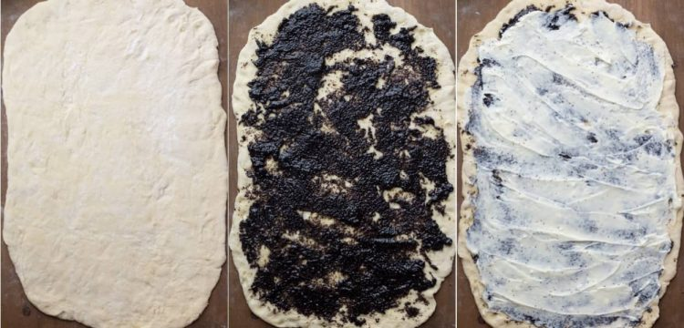 How to assemble the sweet dough with poppy seed and cream cheese.