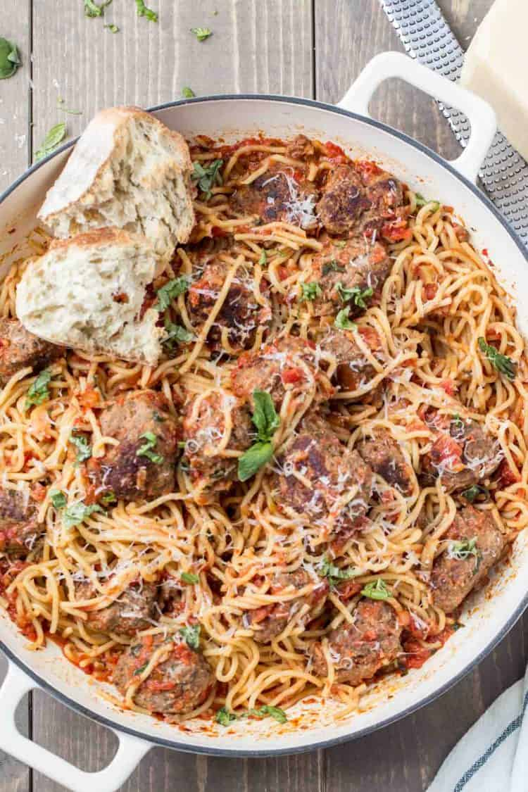 Spaghetti and meatballs recipe made with homemade meatballs.