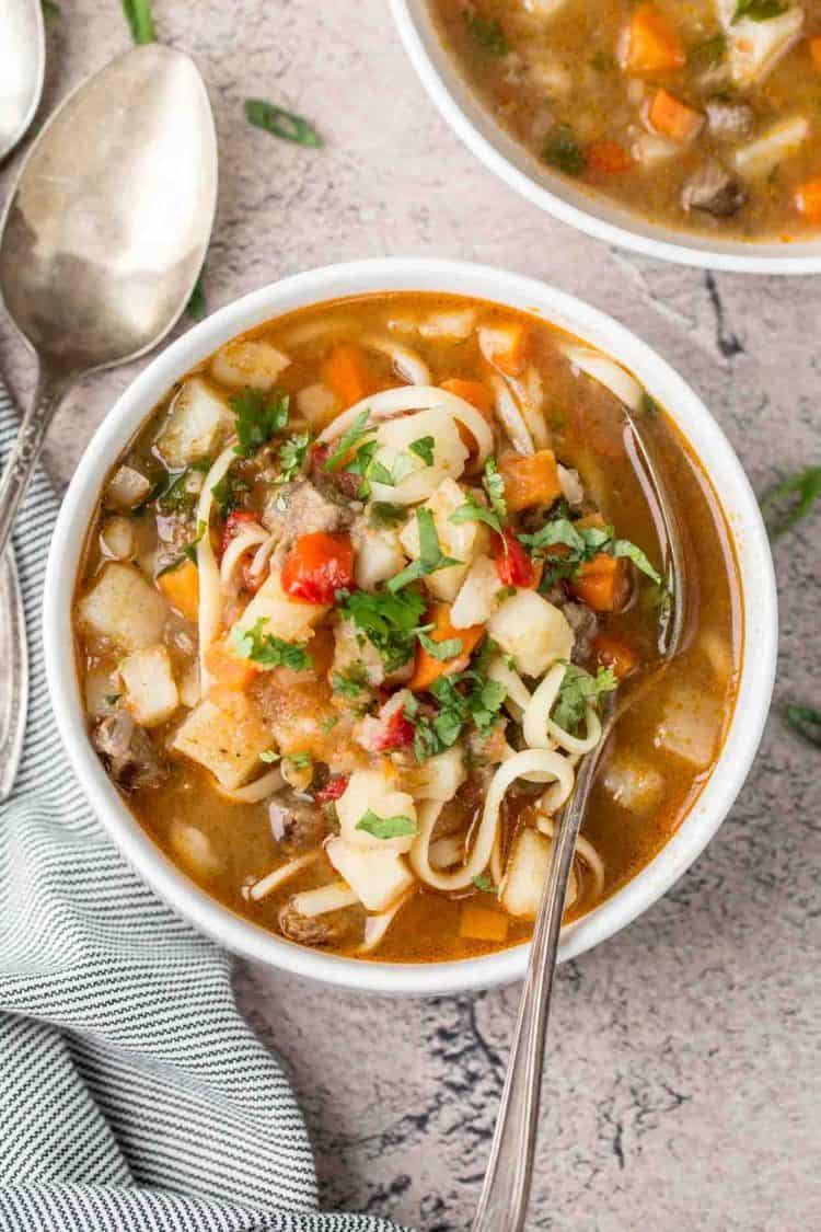 Uzbek Lagman soup made with meat and vegetables. Served over noodles.