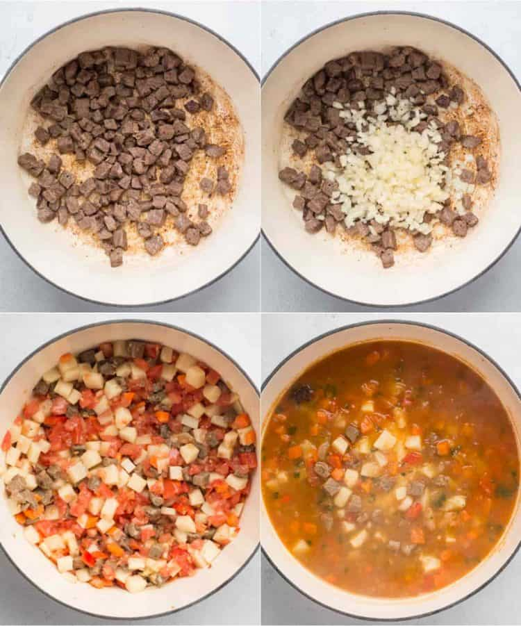 Step by step images how to make Uzbek Lagman.