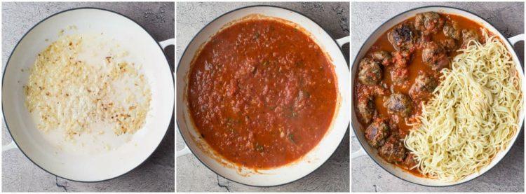 Italian spaghetti and meatballs with spaghetti. Simple recipe for meatballs and spaghetti.