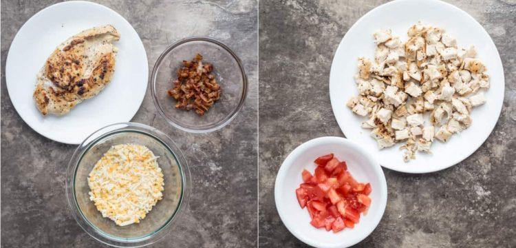 How to prepare toppings for flatbread pizza. Cook and cube chicken, cook bacon, and cube tomatoes.