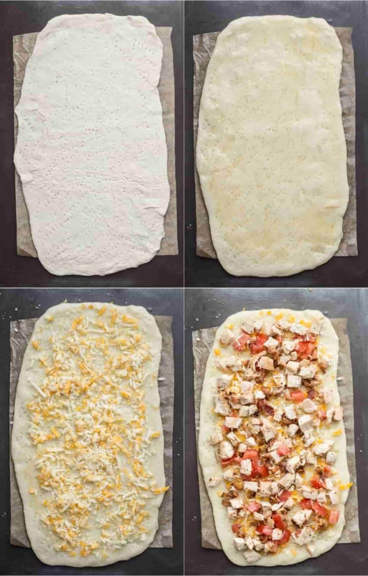 How to make flatbread pizza with homemade dough, chicken, cheese, and bacon!