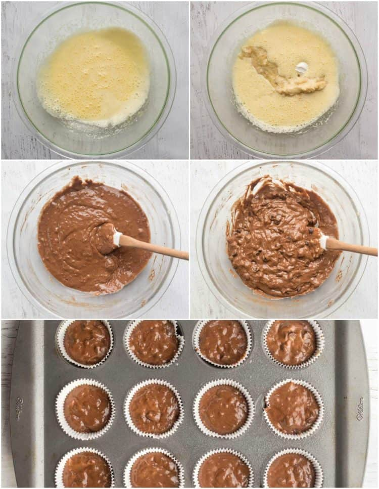 How to make chocolate banana muffins, how to make muffin batter and how to put into muffin molds.