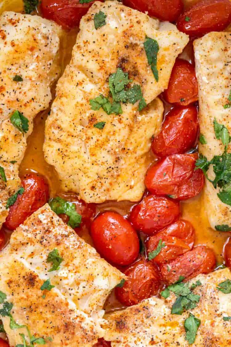 Seasoned codfish in a wine sauce with tomatoes and fresh herbs.