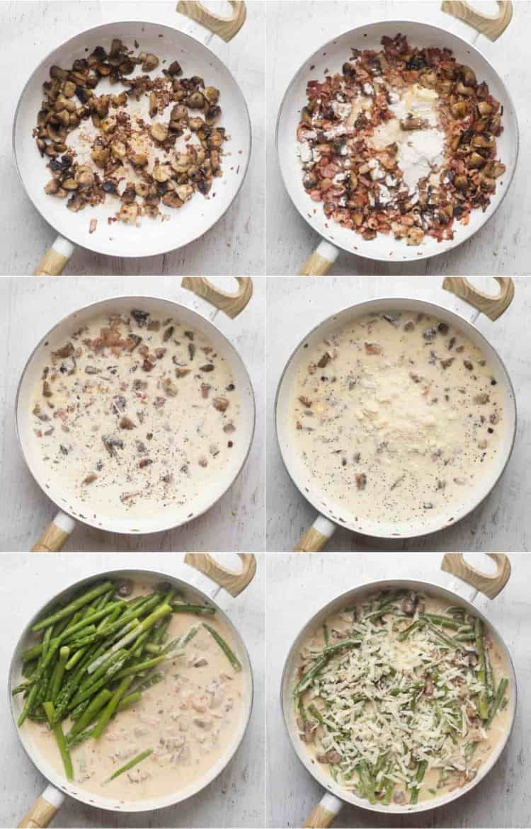 How to cook asparagus with bacon and mushrooms in a creamy Alfredo sauce.