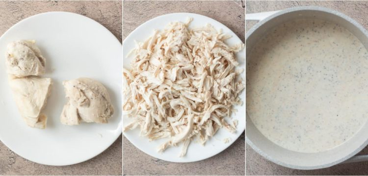 Photo collage how to cook chicken, shred chicken and how to prepare the creamy poppy seed sauce.
