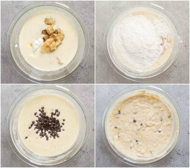 A collage for how to make banana bread batter for this homemade banana bread.