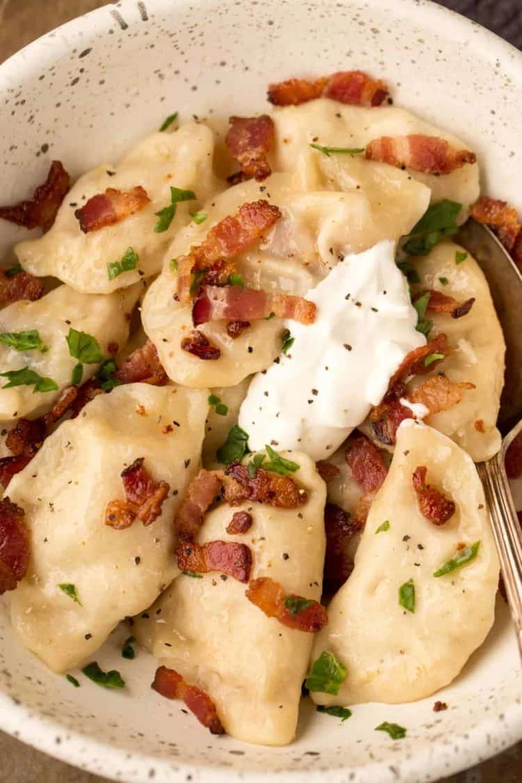Potato perogies recipe made with a cheesy bacon and potato filling.