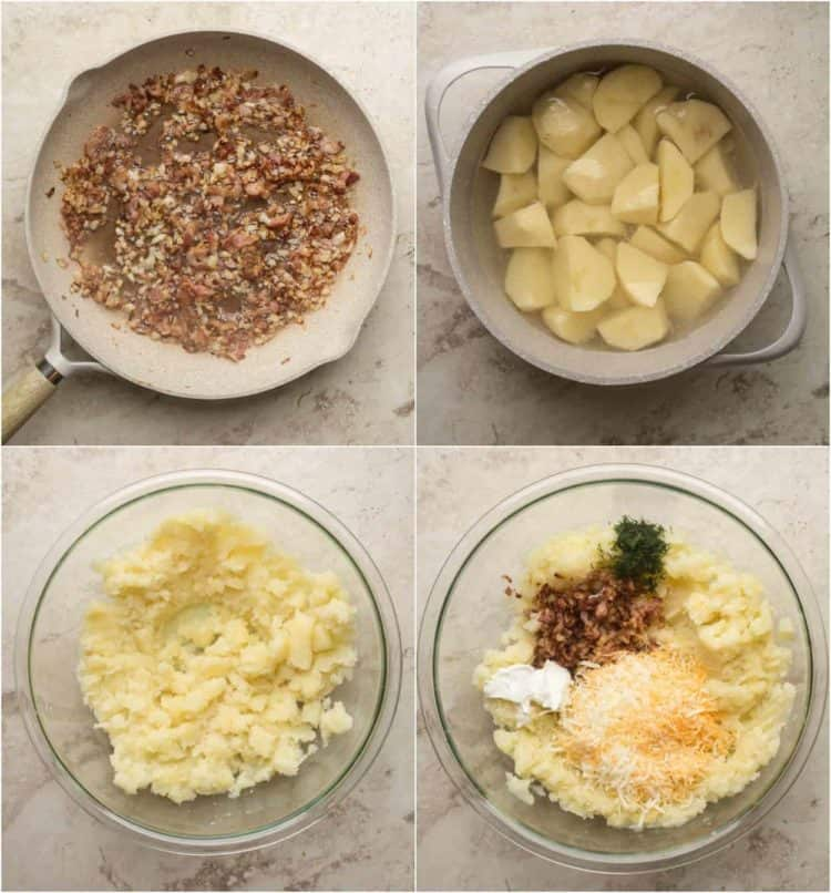Step by step how to make potato filling for this simple pierogi recipe.