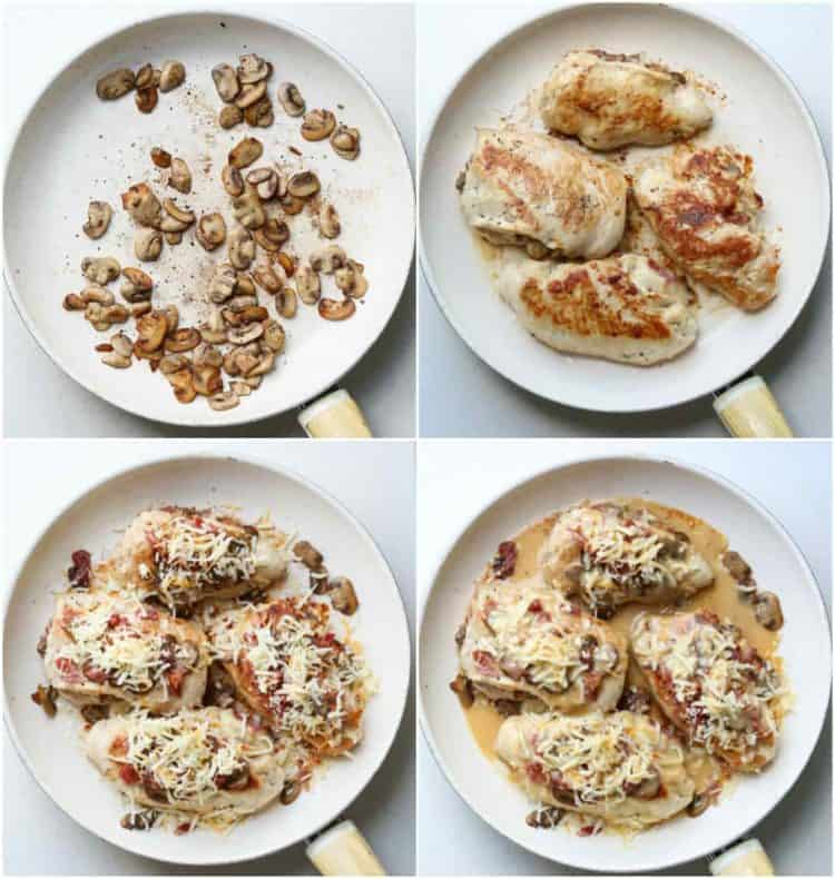 How to make stuffed chicken breast recipe with sauteed mushrooms, bacon and cheese.