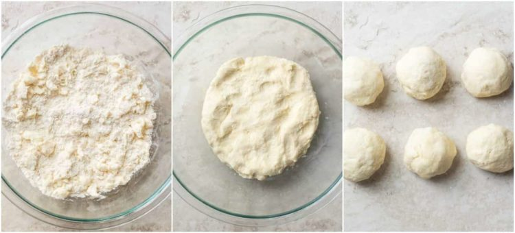 Step by step collage tutorial on how to make the rugelach cookie dough.