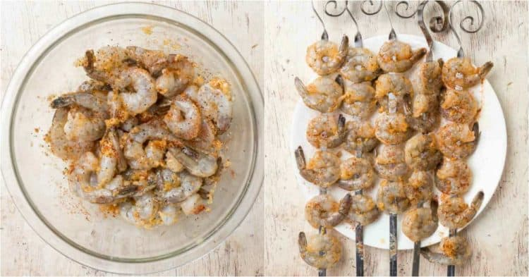 Step-by-step collage how to prepare and marinate shrimp for this easy grilled shrimp recipe!