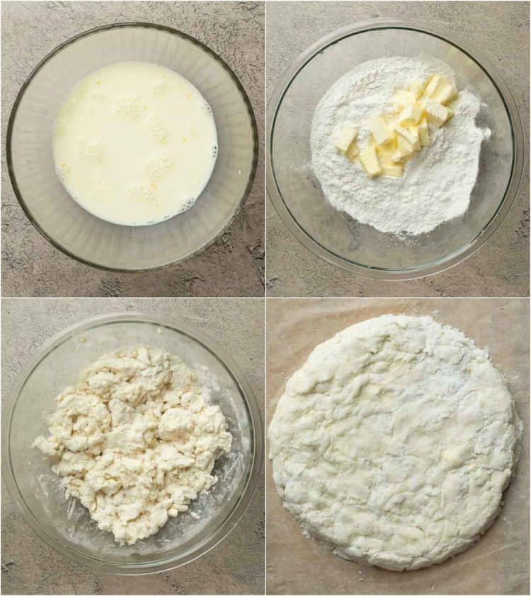 How to make biscuits from scratch with milk, egg, flour, sugar and butter.