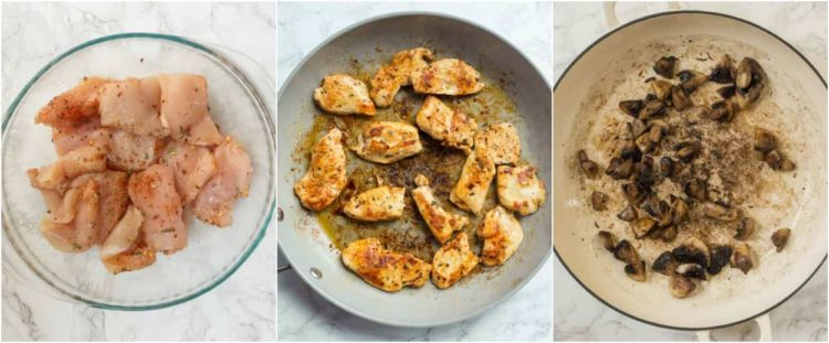 Step by step collage on how to cook chicken breast in a skillet.