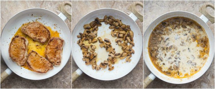 How to make pork chops with a creamy mushroom sauce in a skillet.