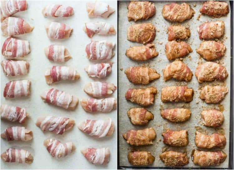 How to make bacon wrapped chicken recipe with chicken breast, bacon, and a sweet brown sugar coating.