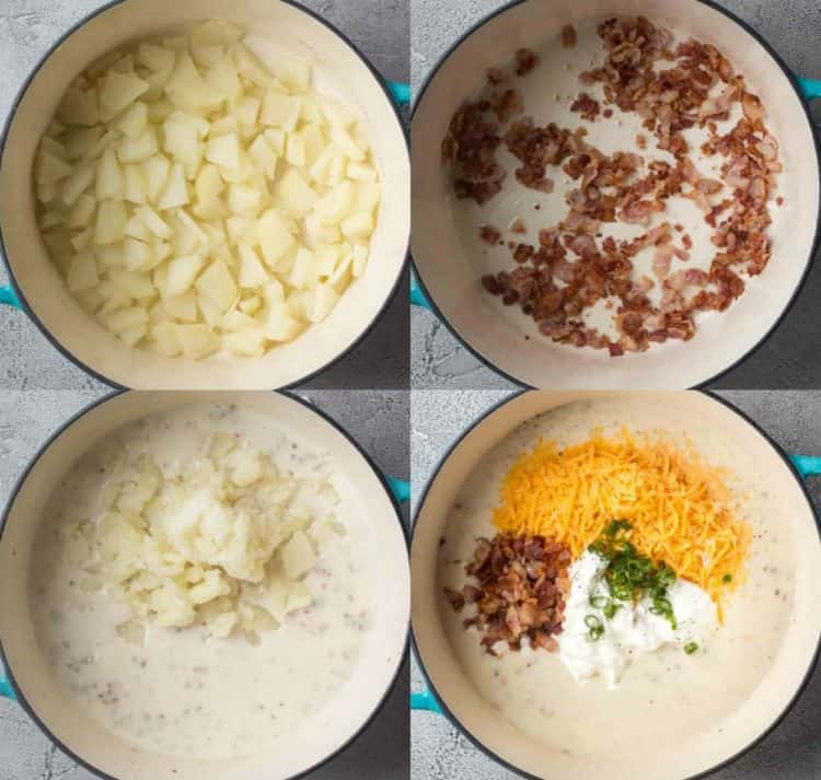 How to make an easy potato soup recipe with step-by-step video photos.