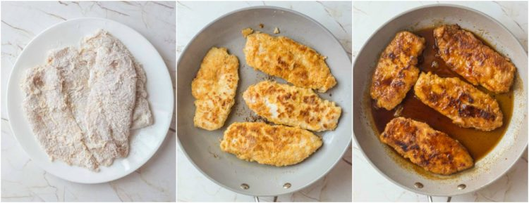 Step by step collage on how to make breaded chicken in honey sauce for mac and cheese.