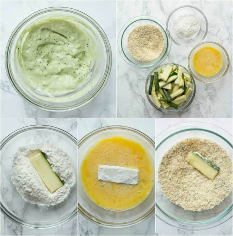 how to make baked zucchini fries and the avocado dip.