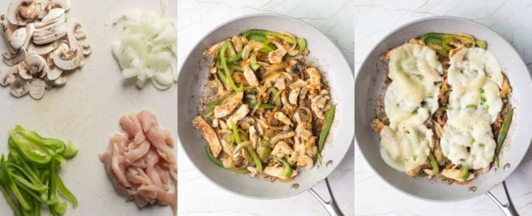 How to make chicken philly sandwich with chicken breast, green peppers, and mushrooms.
