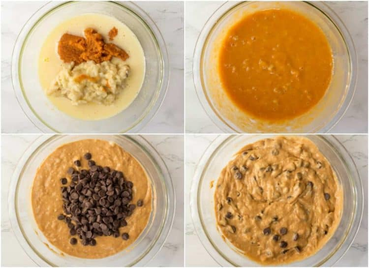 Collage tutorial how to make pumpkin chocolate chip bread with bananas.