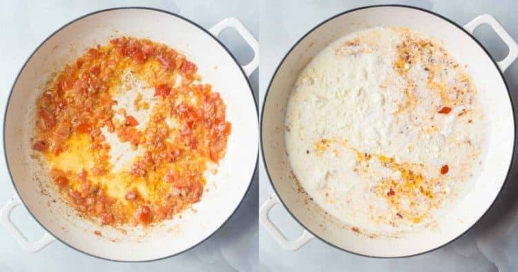 How to make shrimp chicken carbonara pasta with bacon.