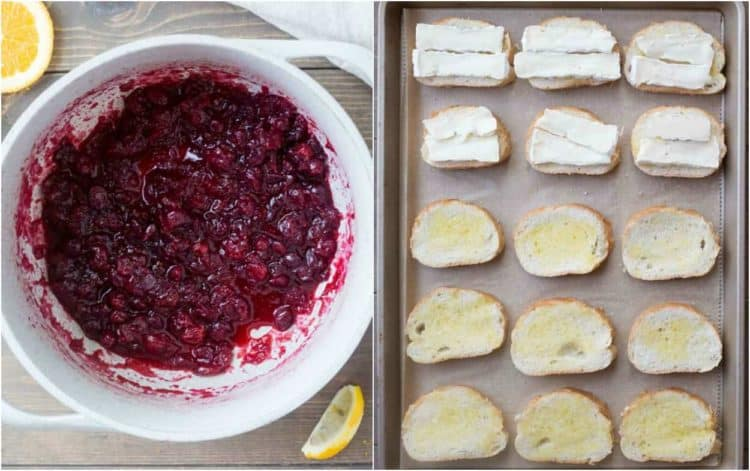 How to make cranberry sauce and toast French bread slices topped with olive oil and brie cheese.