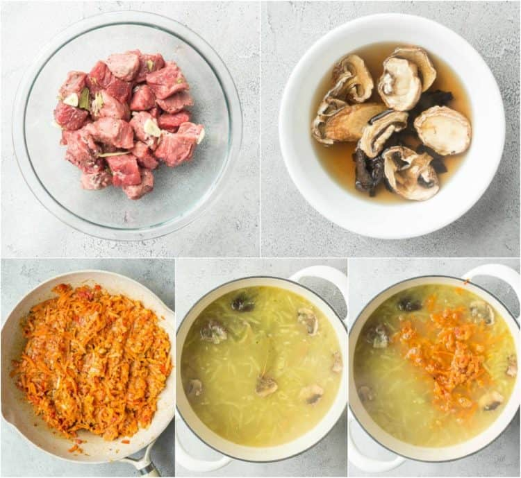 How to season meat and rinse dried mushrooms for this simple pickle soup.