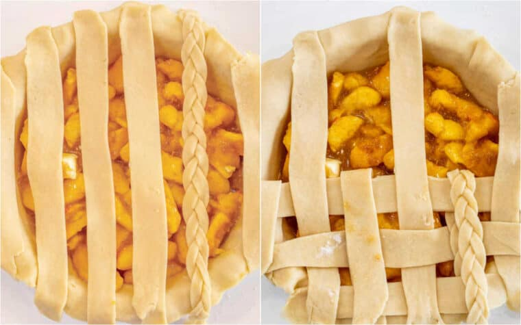 Step by step collage how to make make a lattice pie crust.