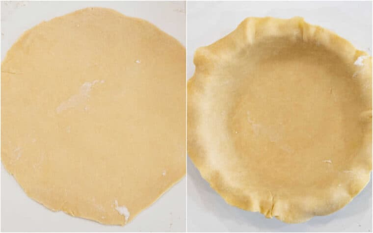 Step by step collage of how to roll out and transfer the pie crust.