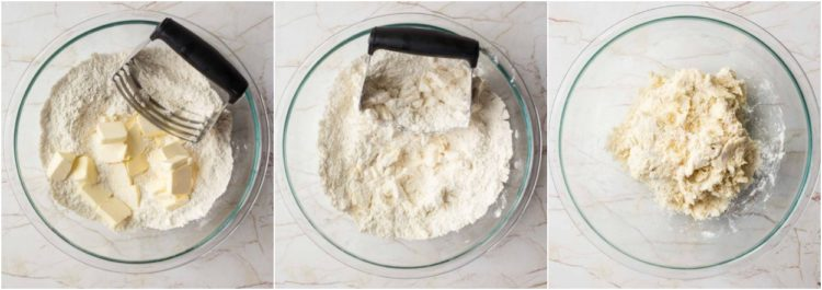How to make homemade pie crust dough with butter and cold water.