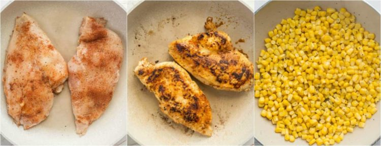 How to make a quinoa bowl with quinoa, seasoned chicken and sauteed corn.