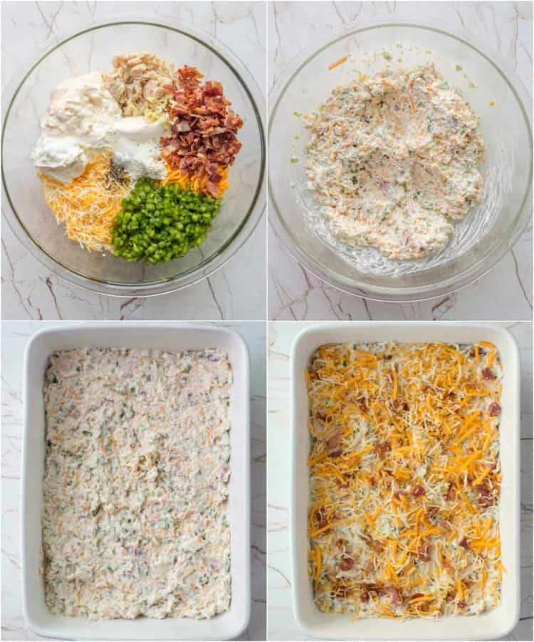 How to make this creamy jalapeno cheese dip made with bacon, jalapenos, and chicken.
