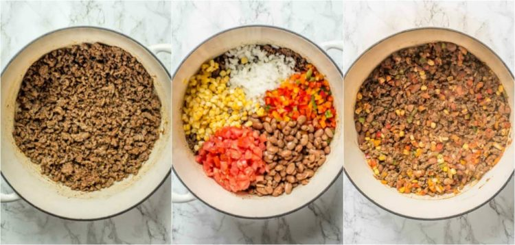How to make taco soup with ground beef, tomatoes, corn, and veggies.