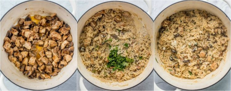 How to make chicken and rice dinner with sautéed chicken, mushrooms, onions, and rice.