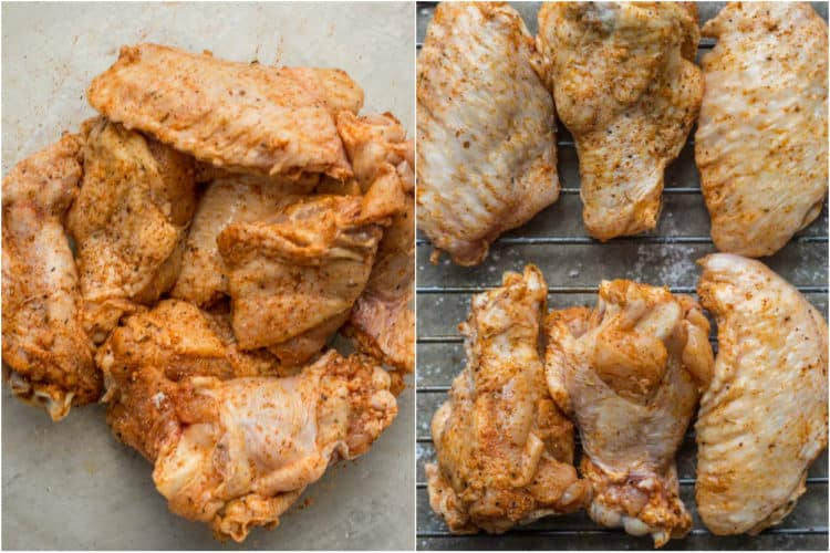 Collage of how to prep chicken wings for baking.