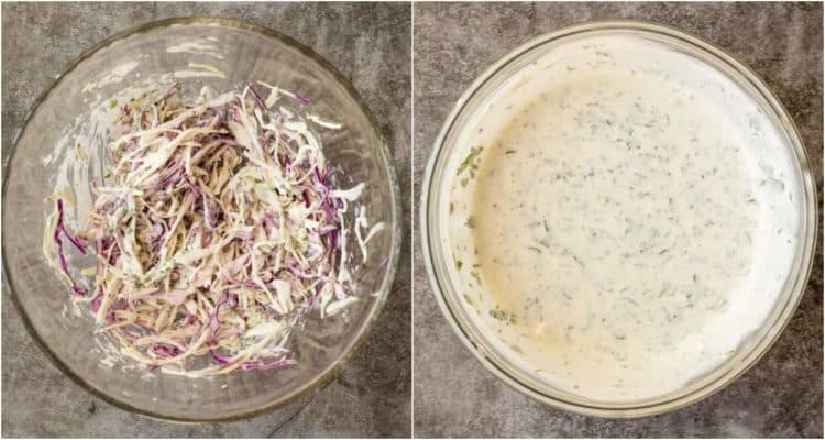How to make fish taco cabbage slaw with a cilantro lime sauce made from scratch!